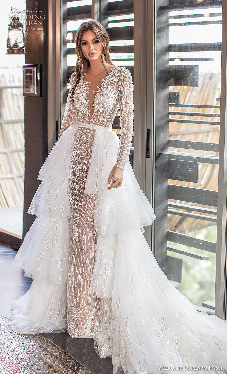 lorenzo rossi 2019 milla bridal long sleeves deep v neck full embellishment glamorous sheath wedding dress a  line overskirt covered lace back chapel train (16) mv