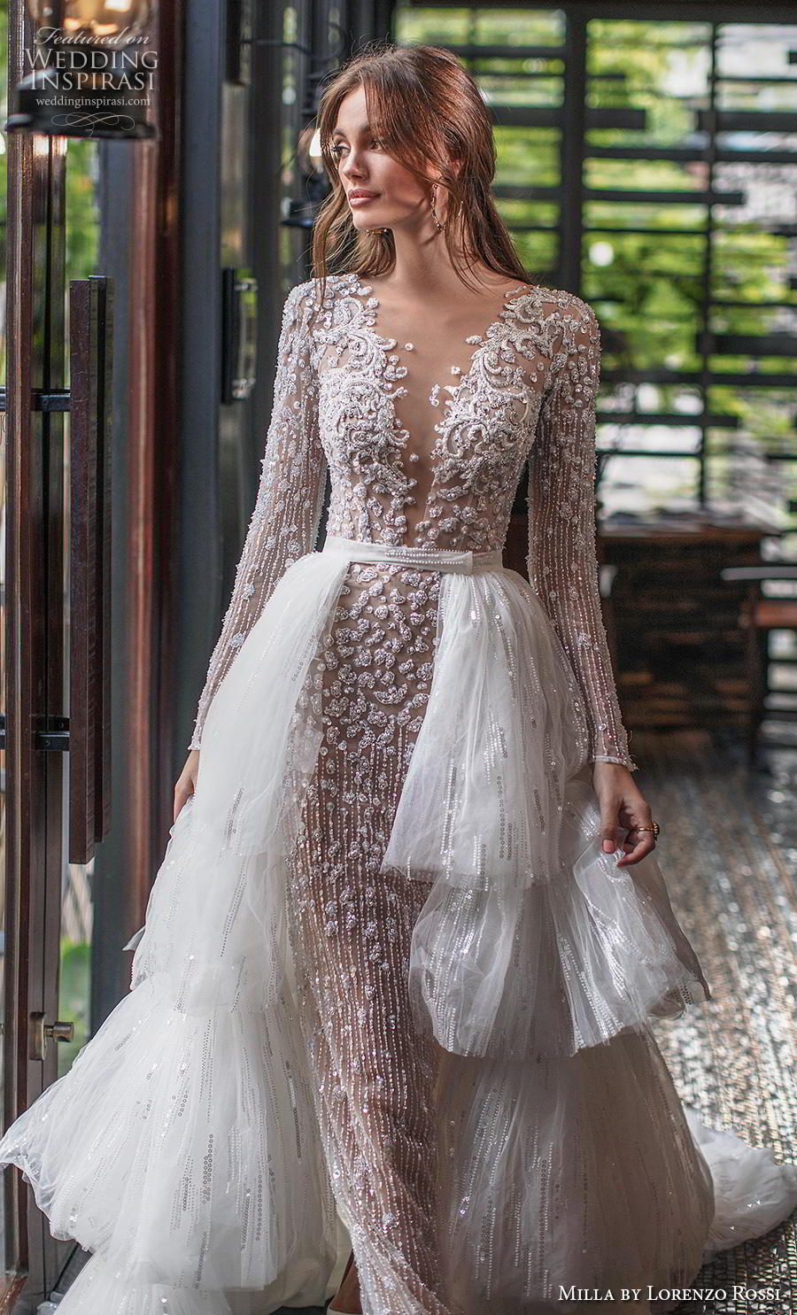 lorenzo rossi 2019 milla bridal long sleeves deep v neck full embellishment glamorous sheath wedding dress a  line overskirt covered lace back chapel train (16) zv