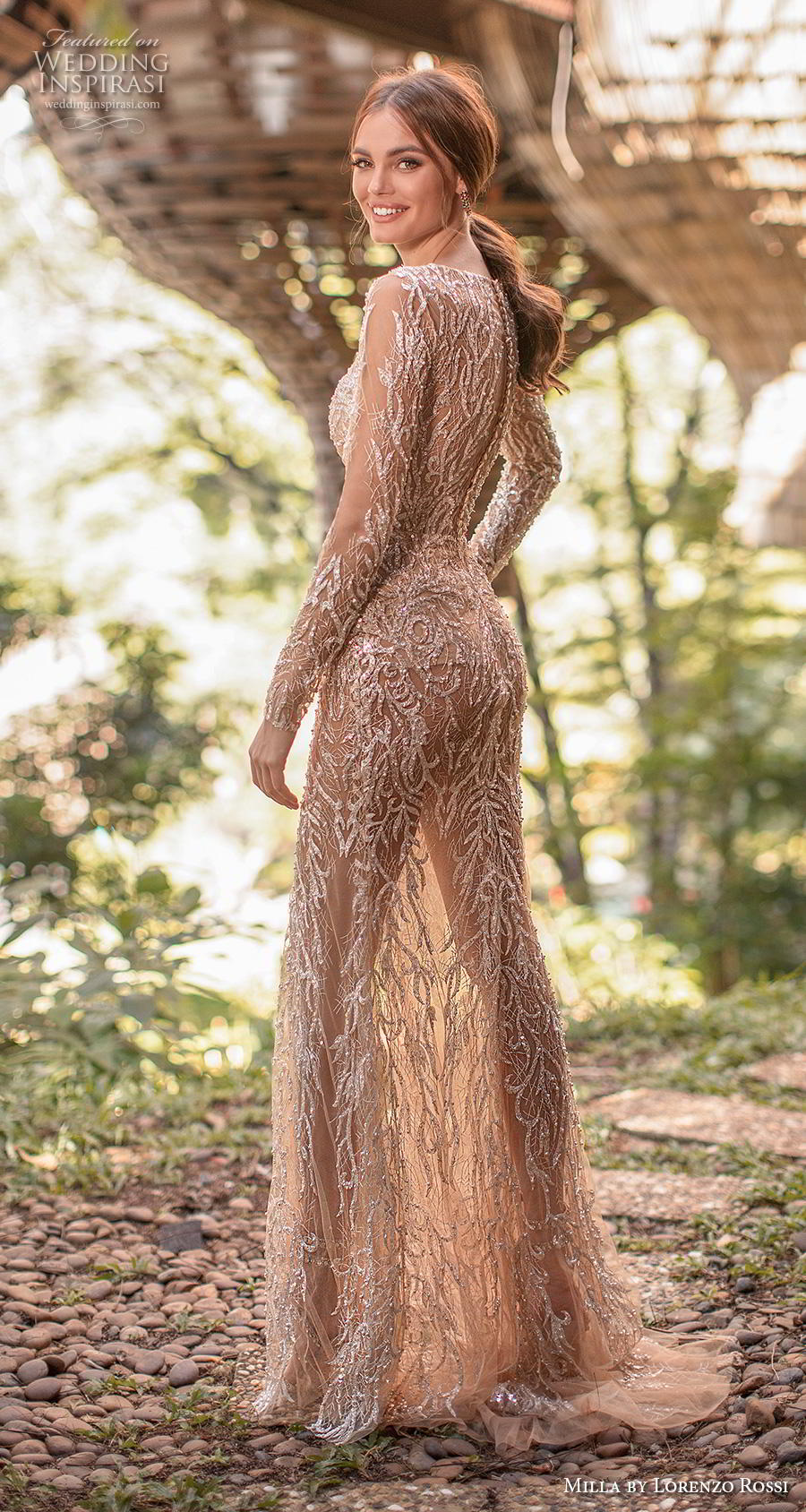 lorenzo rossi 2019 milla bridal long sleeves deep v neck full embellishment slit skirt glamorous sexy gold sheath wedding dress covered back sweep train (11) bv