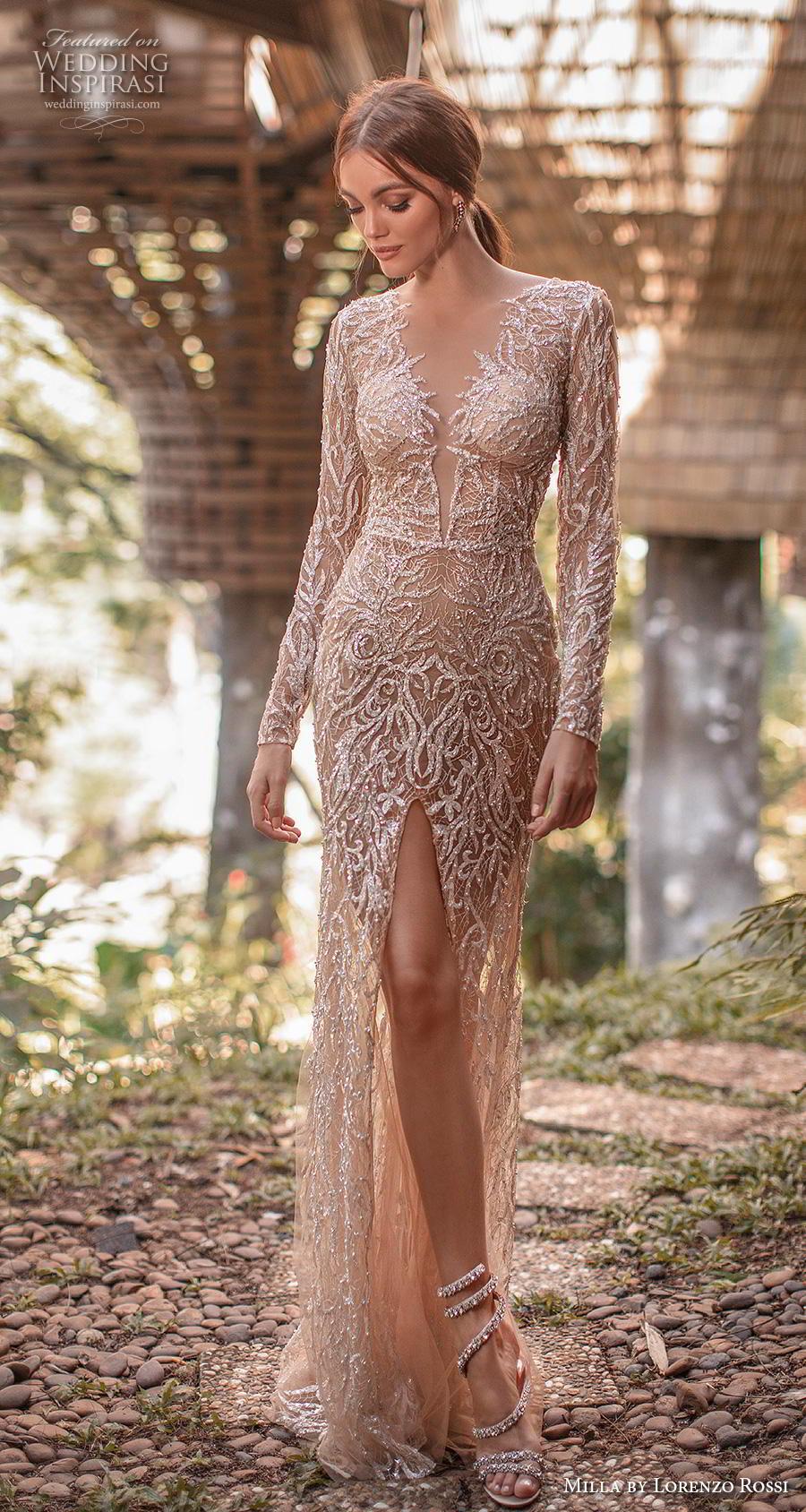 lorenzo rossi 2019 milla bridal long sleeves deep v neck full embellishment slit skirt glamorous sexy gold sheath wedding dress covered back sweep train (11) mv