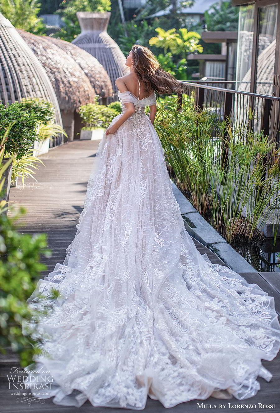 lorenzo rossi 2019 milla bridal off the shoulder deep sweetheart neckline full embellishment romantic a  line wedding dress sheer button back chapel train (3) bv