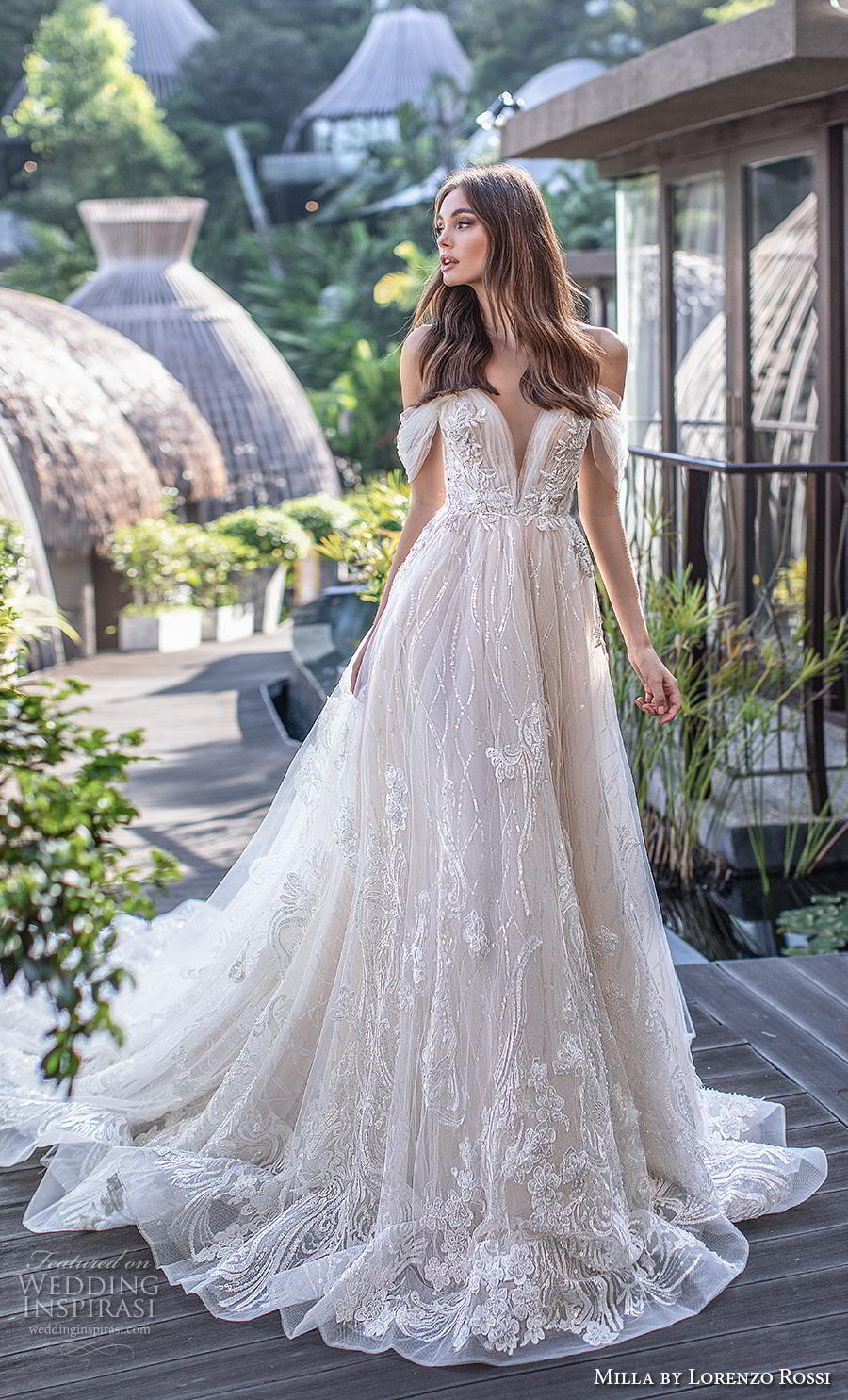 lorenzo rossi 2019 milla bridal off the shoulder deep sweetheart neckline full embellishment romantic a  line wedding dress sheer button back chapel train (3) mv
