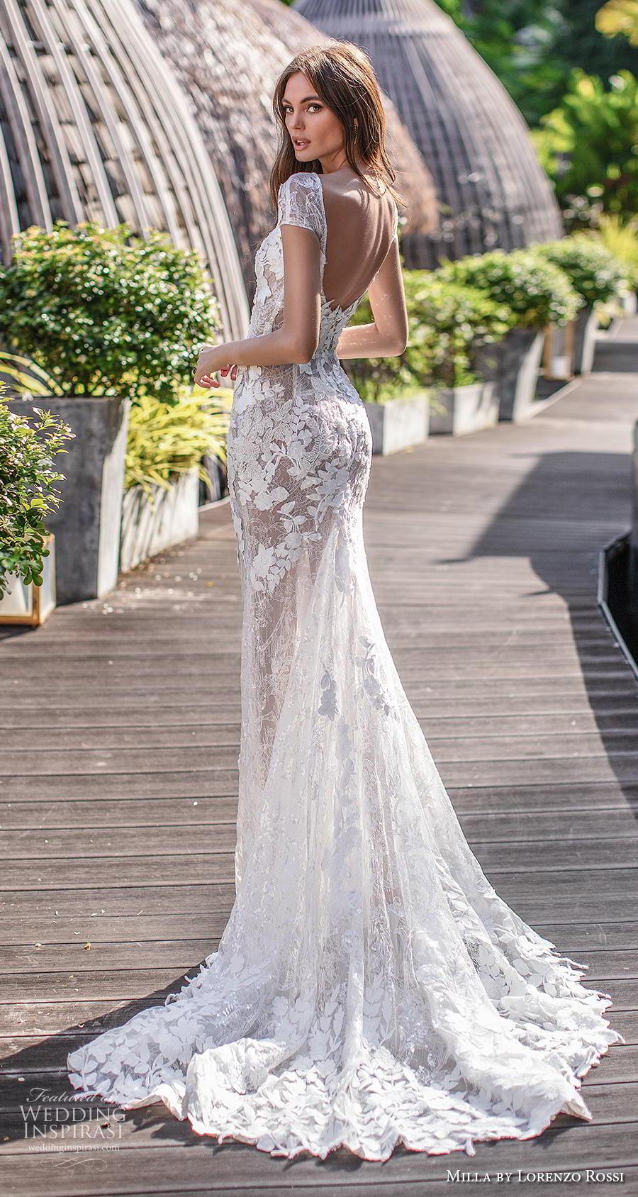 lorenzo rossi 2019 milla bridal short sleeves bateau neckline full embellishment elegant fit and flare wedding dress backless chapel train (8) bv