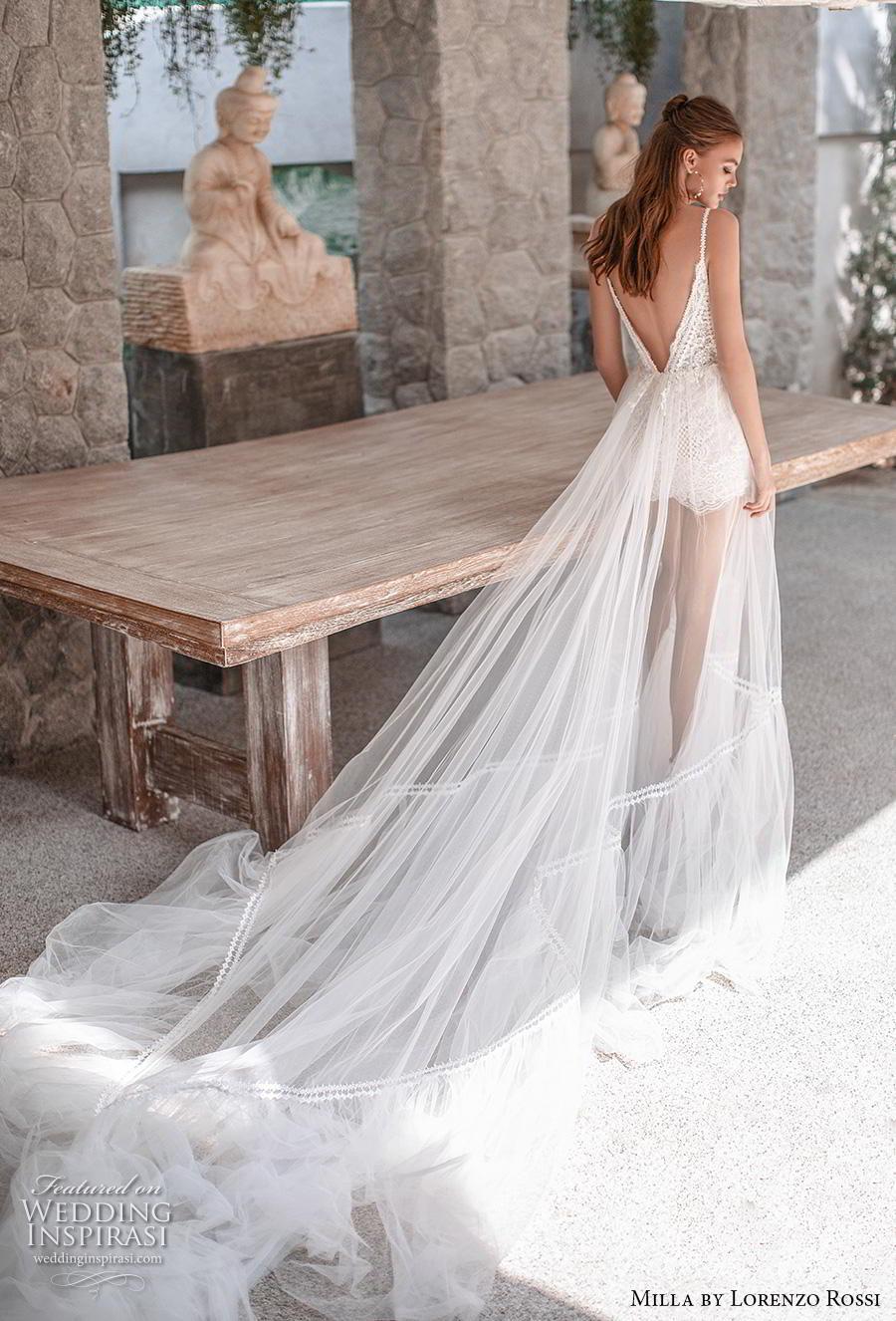 lorenzo rossi 2019 milla bridal sleeveless spaghetti strap deep diamond neckline heavily embellished bodice sheer skirt romantic soft a  line wedding dress low v back chapel train (13) bv