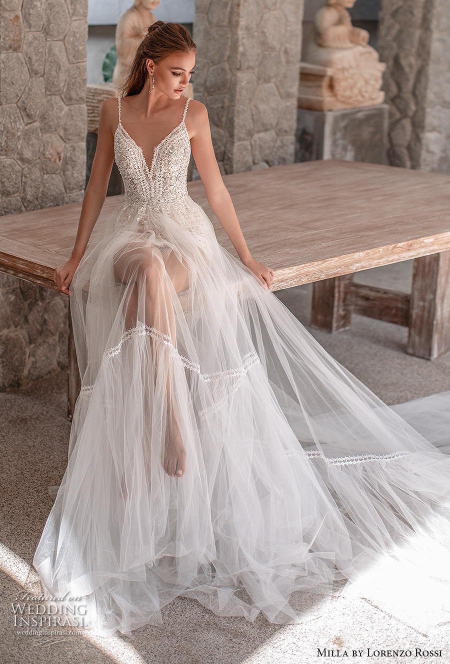 lorenzo rossi 2019 milla bridal sleeveless spaghetti strap deep diamond neckline heavily embellished bodice sheer skirt romantic soft a  line wedding dress low v back chapel train (13) mv