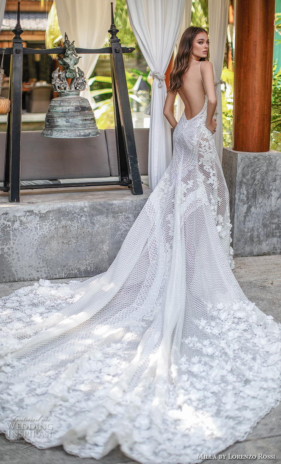 lorenzo rossi 2019 milla bridal sleeveless spaghetti strap deep plunging sweetheart neckline full embellishment sexy elegant fit and flare wedding dress low back royal train (5) bv