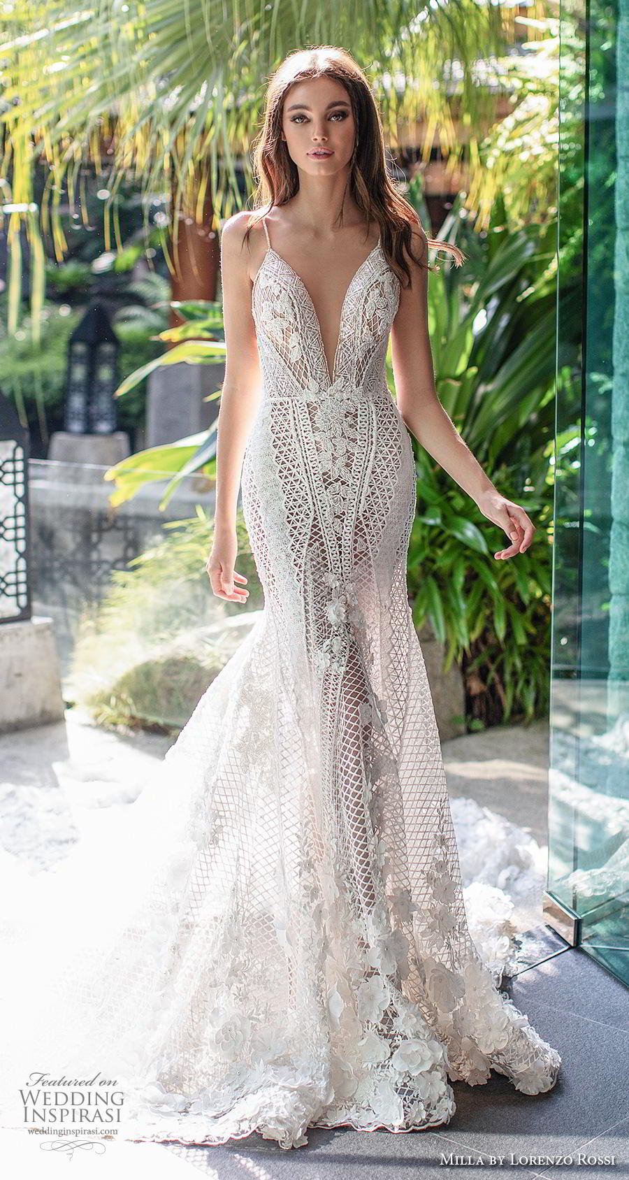 lorenzo rossi 2019 milla bridal sleeveless spaghetti strap deep plunging sweetheart neckline full embellishment sexy elegant fit and flare wedding dress low back royal train (5) mv