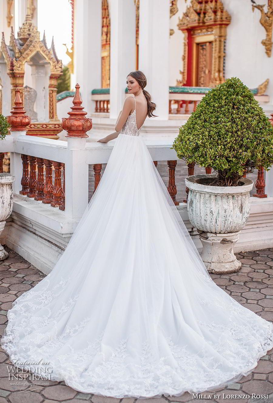 lorenzo rossi 2019 milla bridal sleeveless spaghetti strap diamond neckline heavily embellished bodice romantic soft a  line wedding dress v back royal train (10) bv