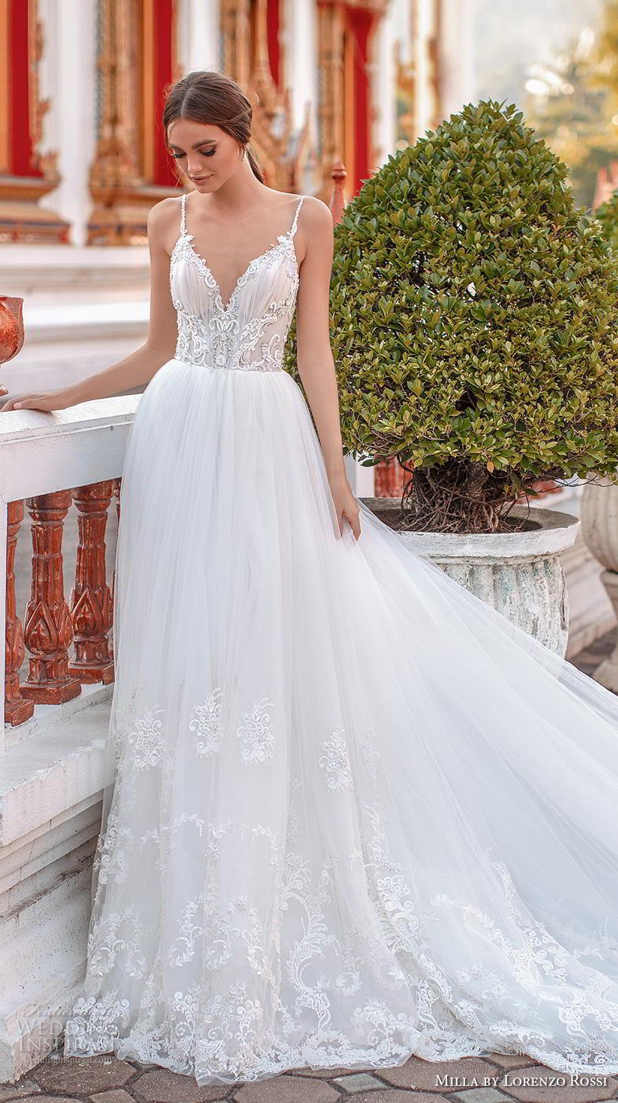 lorenzo rossi 2019 milla bridal sleeveless spaghetti strap diamond neckline heavily embellished bodice romantic soft a  line wedding dress v back royal train (10) mv