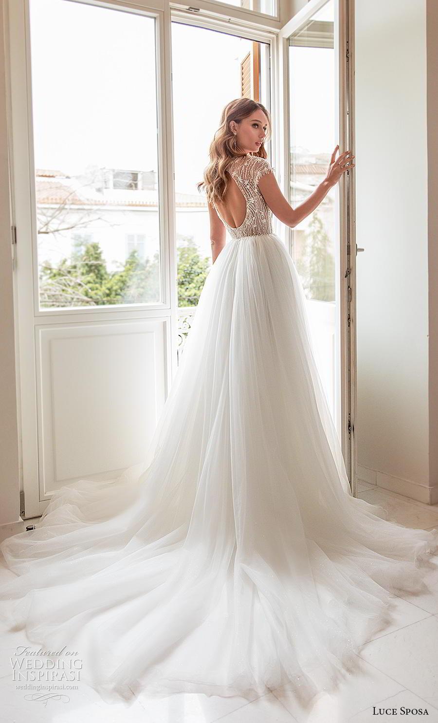 luce sposa 2020 bridal cap sleeves jewel neck heavily embellished bodice tulle skirt romantic a  line wedding dress keyhole back chapel train (13) bv
