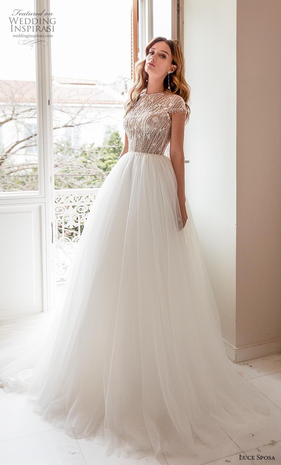 luce sposa 2020 bridal cap sleeves jewel neck heavily embellished bodice tulle skirt romantic a  line wedding dress keyhole back chapel train (13) mv