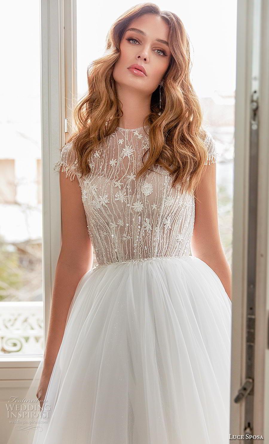 luce sposa 2020 bridal cap sleeves jewel neck heavily embellished bodice tulle skirt romantic a  line wedding dress keyhole back chapel train (13) zv