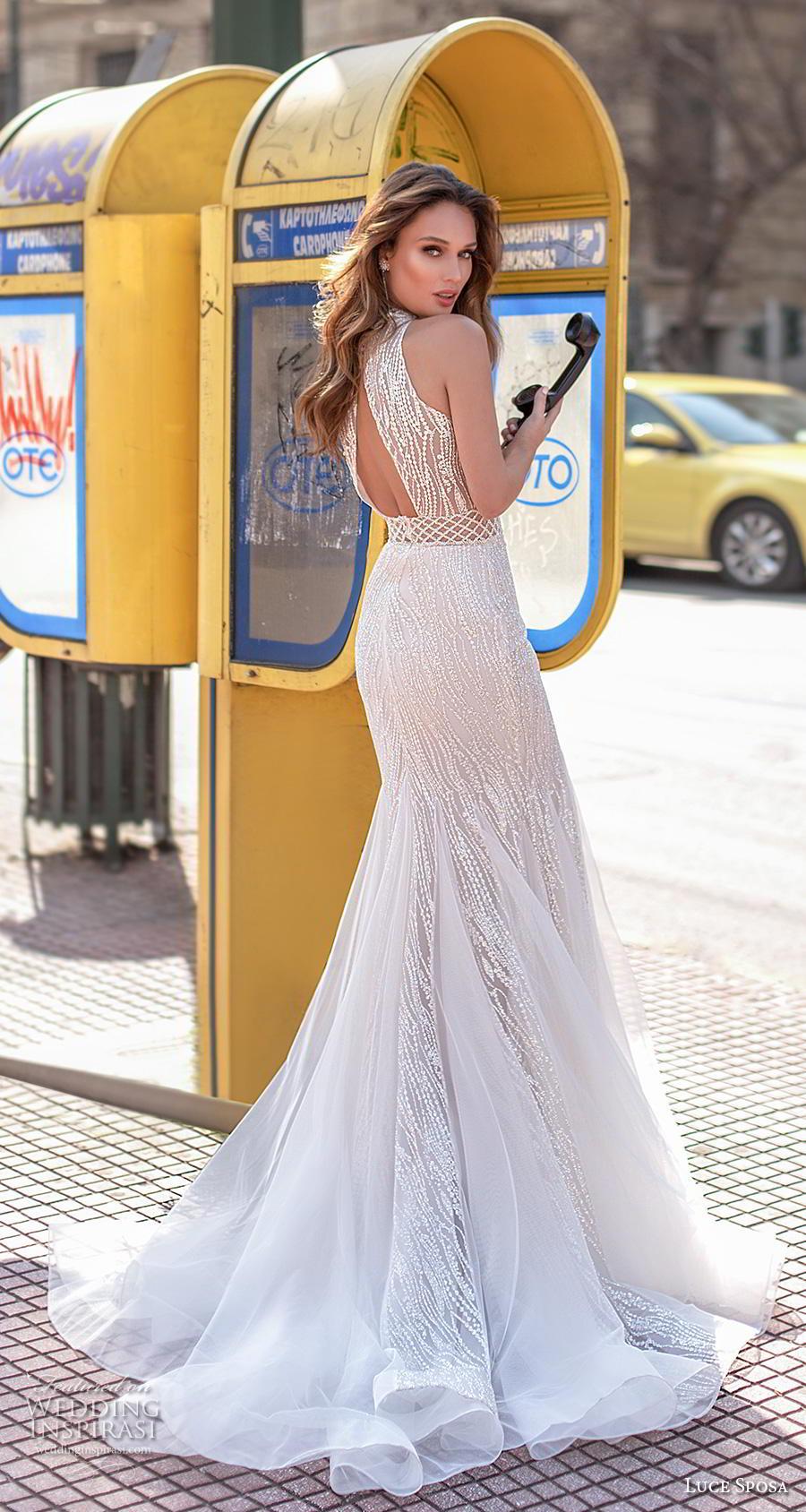 luce sposa 2020 bridal cold shoulder hanging sleeves high neck keyhole heavily embellished bodice sexy elegant fit and flare wedding dress keyhole back short train (12) bv