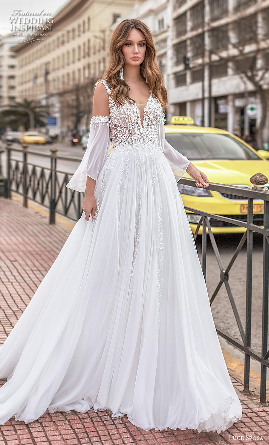 luce sposa 2020 bridal long bell sleeves cold shoulder deep sweetheart neckline heavily embellished bodice romantic soft a  line wedding dress v back chapel train (6) mv