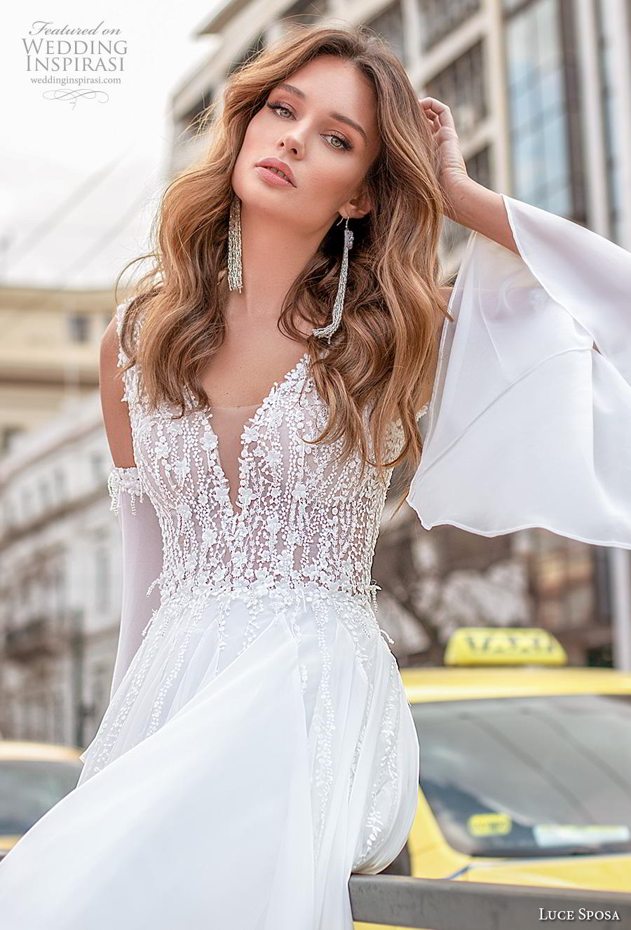 luce sposa 2020 bridal long bell sleeves cold shoulder deep sweetheart neckline heavily embellished bodice romantic soft a  line wedding dress v back chapel train (6) zv