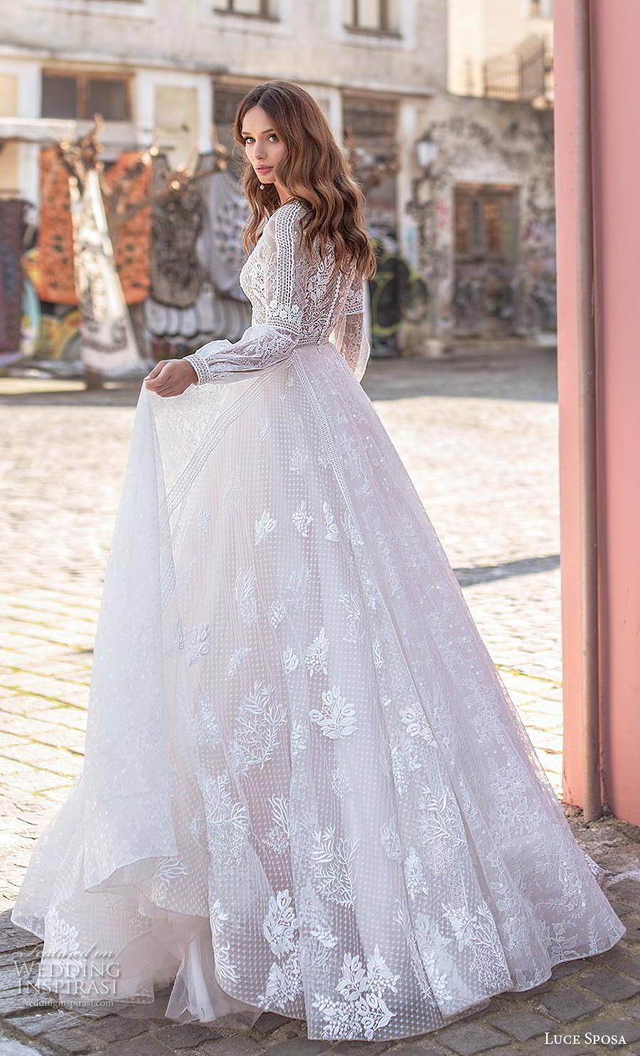 luce sposa 2020 bridal long bishop sleeves bateau neckline heavily embellished bodice modest bohemian a  line wedding dress covered lace back chapel train (11) bv