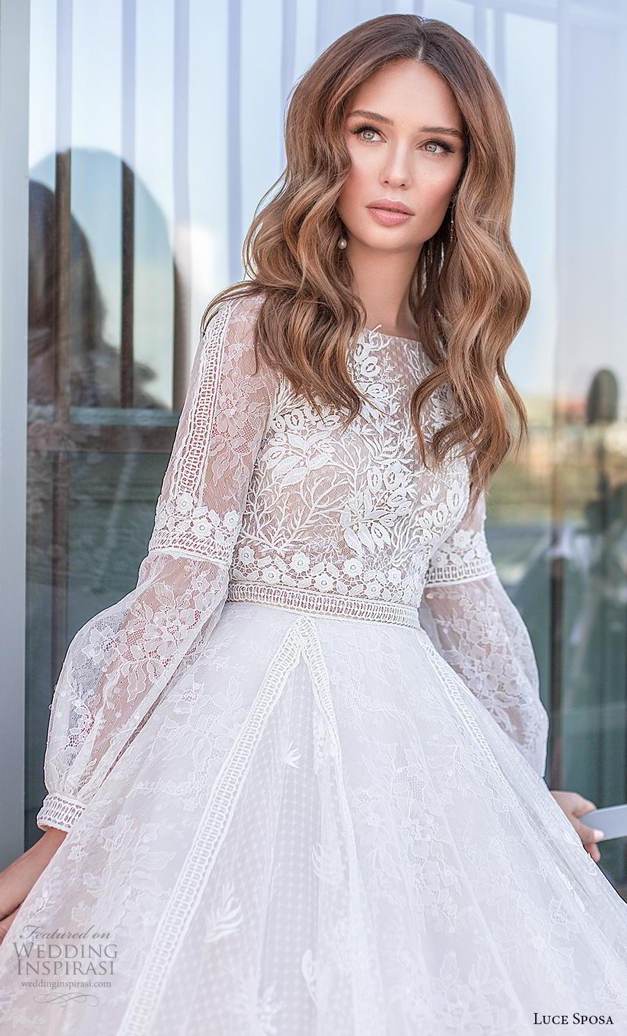 luce sposa 2020 bridal long bishop sleeves bateau neckline heavily embellished bodice modest bohemian a  line wedding dress covered lace back chapel train (11) zv