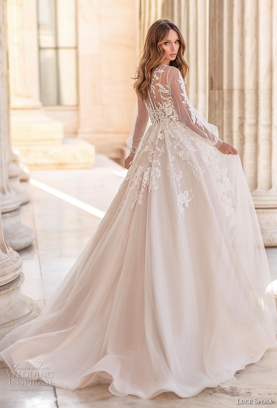 luce sposa 2020 bridal long bishop sleeves illusion bateau v neck heavily embellished bodice romantic a  line wedding dress sheer lace back chapel train (9) bv