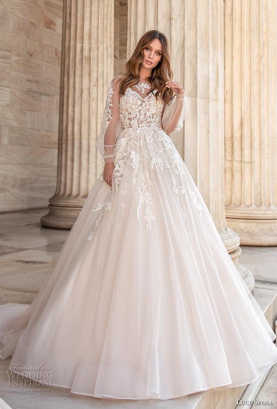 luce sposa 2020 bridal long bishop sleeves illusion bateau v neck heavily embellished bodice romantic a  line wedding dress sheer lace back chapel train (9) mv