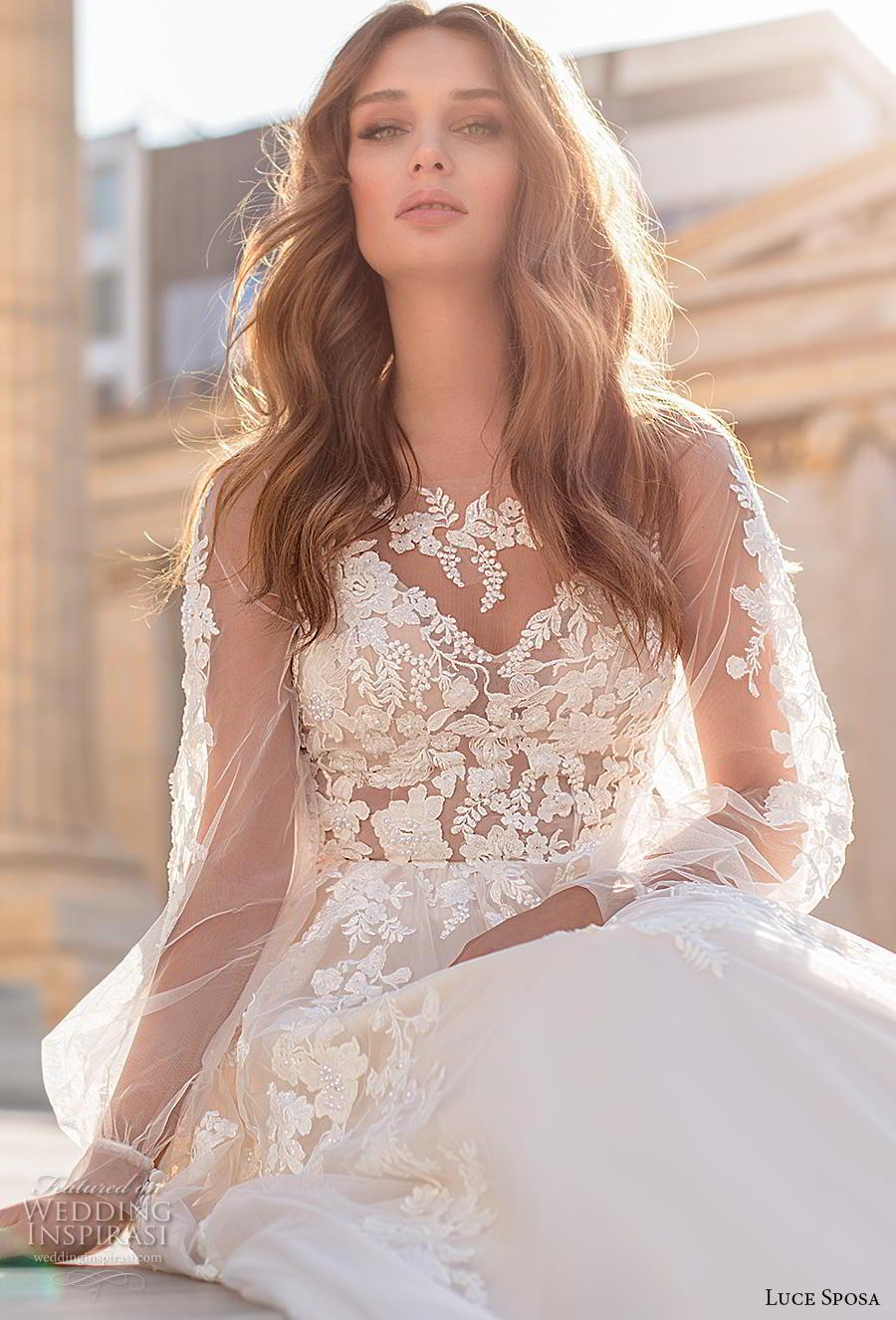 luce sposa 2020 bridal long bishop sleeves illusion bateau v neck heavily embellished bodice romantic a  line wedding dress sheer lace back chapel train (9) zv