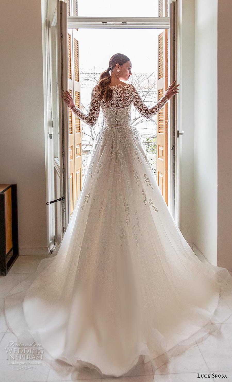 luce sposa 2020 bridal long sleeves bateau neckline heavily embellished bodice tulle skirt romantic a  line wedding dress lace back chapel train (5) bv