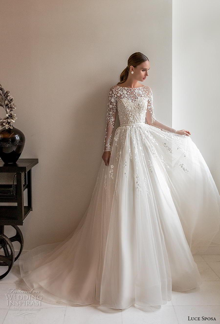 luce sposa 2020 bridal long sleeves bateau neckline heavily embellished bodice tulle skirt romantic a  line wedding dress lace back chapel train (5) mv