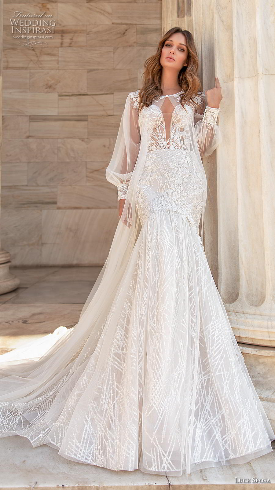 luce sposa 2020 bridal long sleeves bolero jacket jewel sweetheart neckline heavily embellished bodice elegant sexy mermaid wedding dress mid back chapel train (8) mv