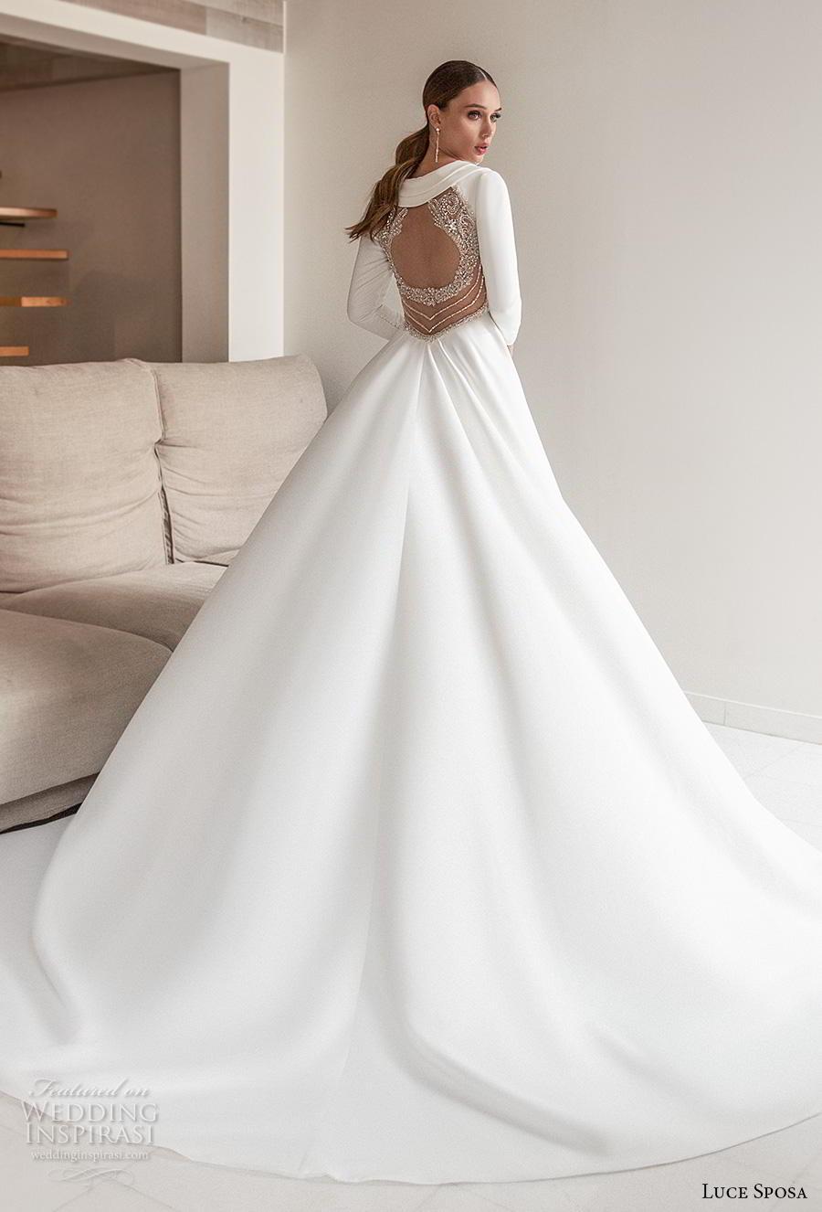 luce sposa 2020 bridal long sleeves deep v neck simple minimalist elegant modern a  line wedding dress keyhole back chapel train (4) bv