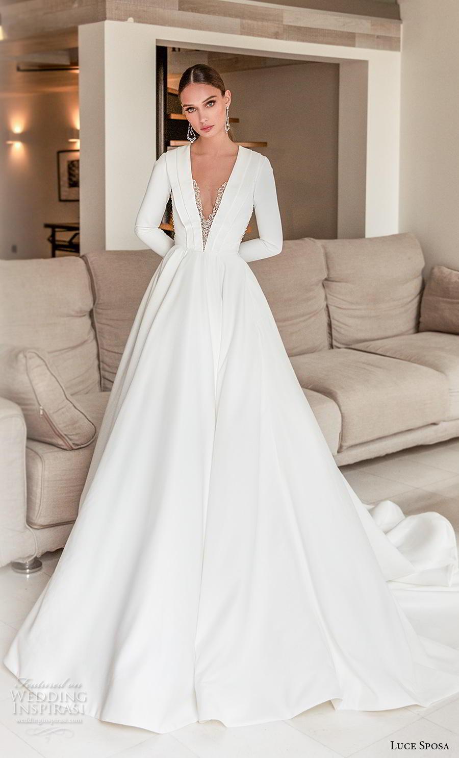 luce sposa 2020 bridal long sleeves deep v neck simple minimalist elegant modern a  line wedding dress keyhole back chapel train (4) mv