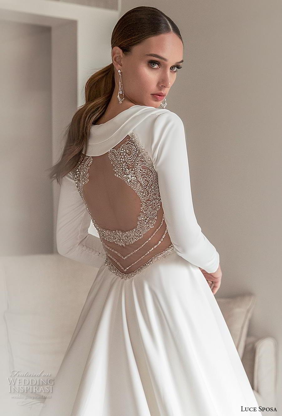 luce sposa 2020 bridal long sleeves deep v neck simple minimalist elegant modern a  line wedding dress keyhole back chapel train (4) zbv