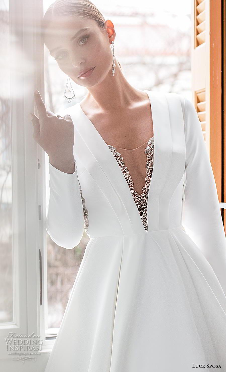 luce sposa 2020 bridal long sleeves deep v neck simple minimalist elegant modern a  line wedding dress keyhole back chapel train (4) zv
