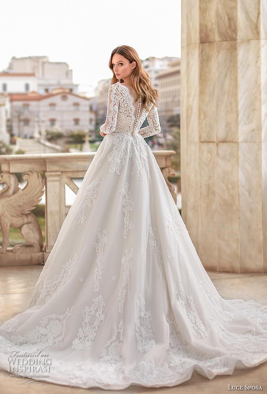 luce sposa 2020 bridal long sleeves scoop neckline heavily embellished bodice elegant modest a  line wedding dress pockets chapel train (1) bv
