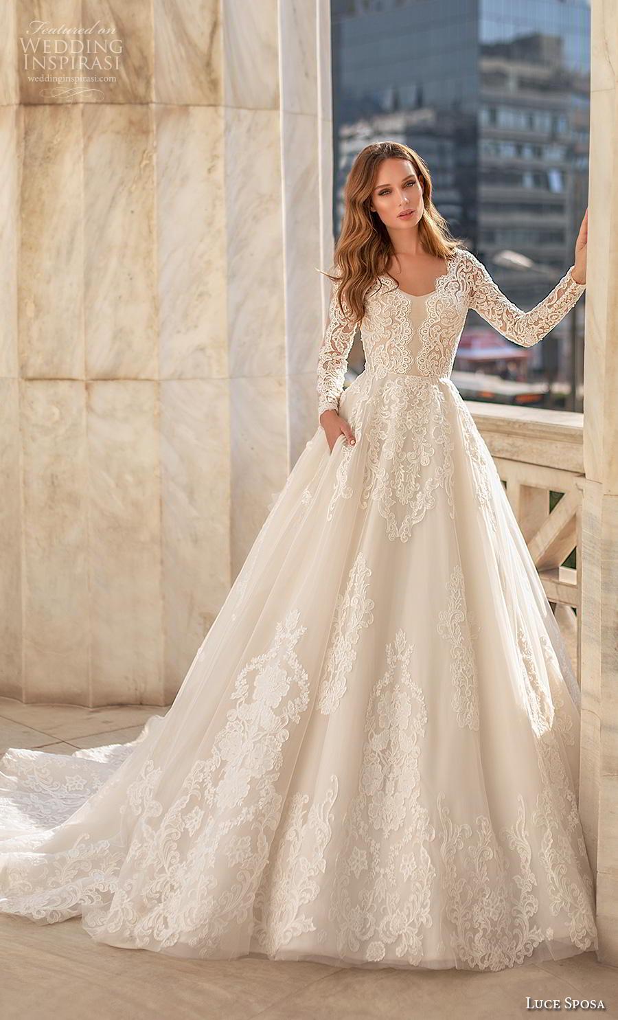 luce sposa 2020 bridal long sleeves scoop neckline heavily embellished bodice elegant modest a  line wedding dress pockets chapel train (1) mv