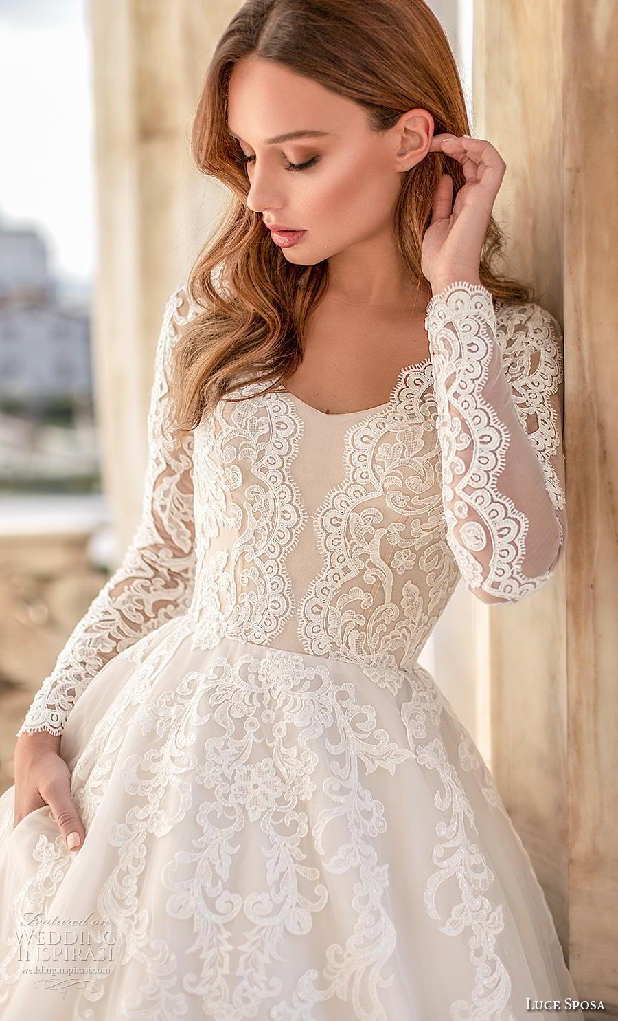 luce sposa 2020 bridal long sleeves scoop neckline heavily embellished bodice elegant modest a  line wedding dress pockets chapel train (1) zv