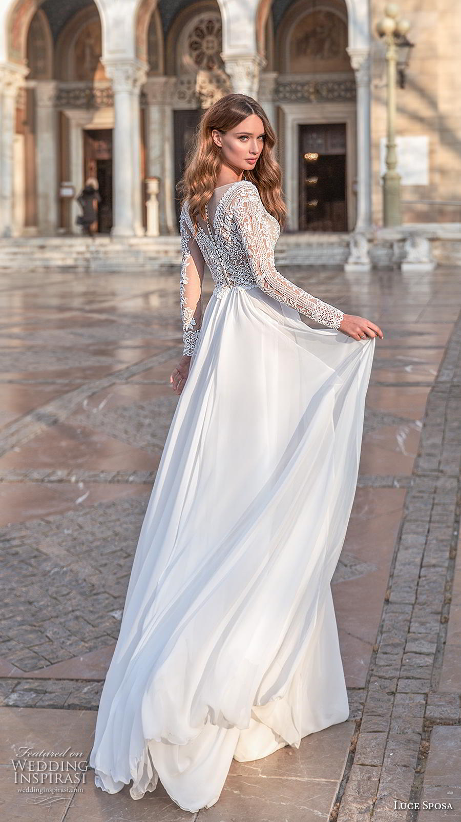 luce sposa 2020 bridal long sleeves v neck heavily embellished bodice romantic modified soft a  line wedding dress sheer button back sweep train (3) bv