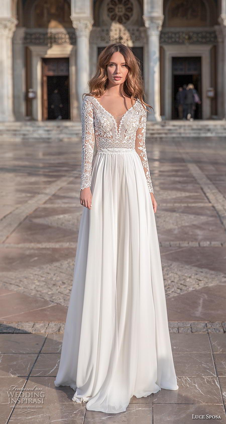luce sposa 2020 bridal long sleeves v neck heavily embellished bodice romantic modified soft a  line wedding dress sheer button back sweep train (3) mv