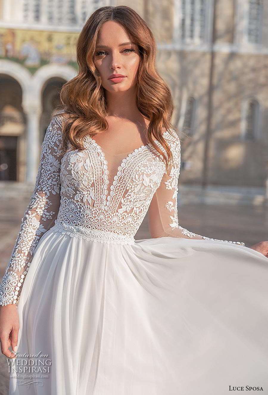 luce sposa 2020 bridal long sleeves v neck heavily embellished bodice romantic modified soft a  line wedding dress sheer button back sweep train (3) zv