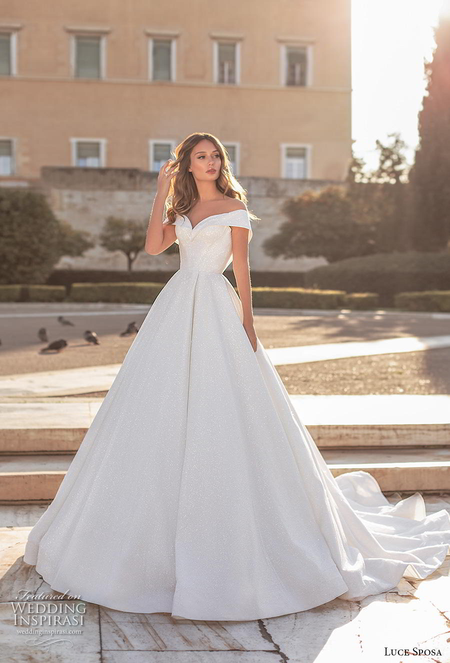 luce sposa 2020 bridal off the shoulder sweetheart neckline simple ball gown a  line wedding dress v back chapel train (2) mv