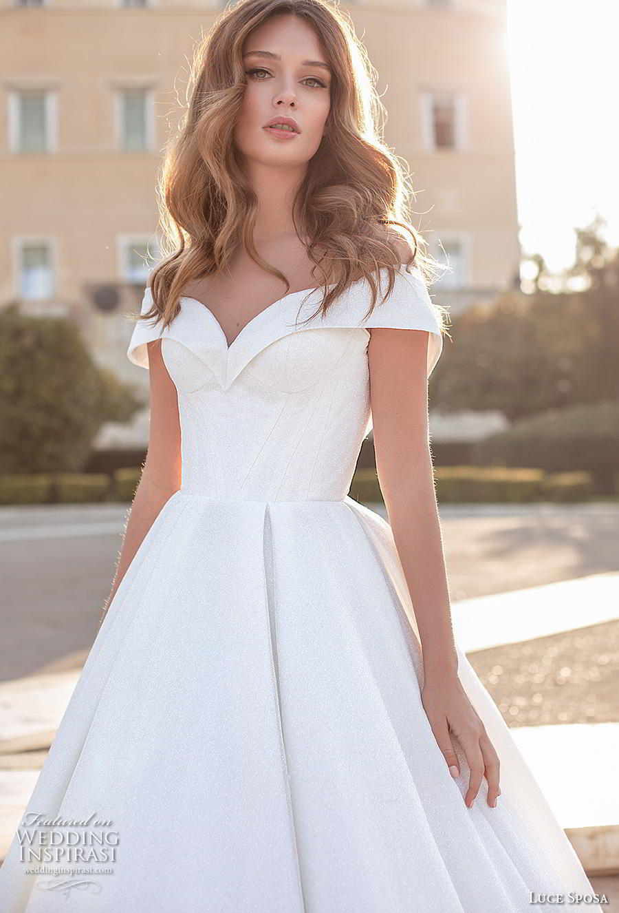 luce sposa 2020 bridal off the shoulder sweetheart neckline simple ball gown a  line wedding dress v back chapel train (2) zv