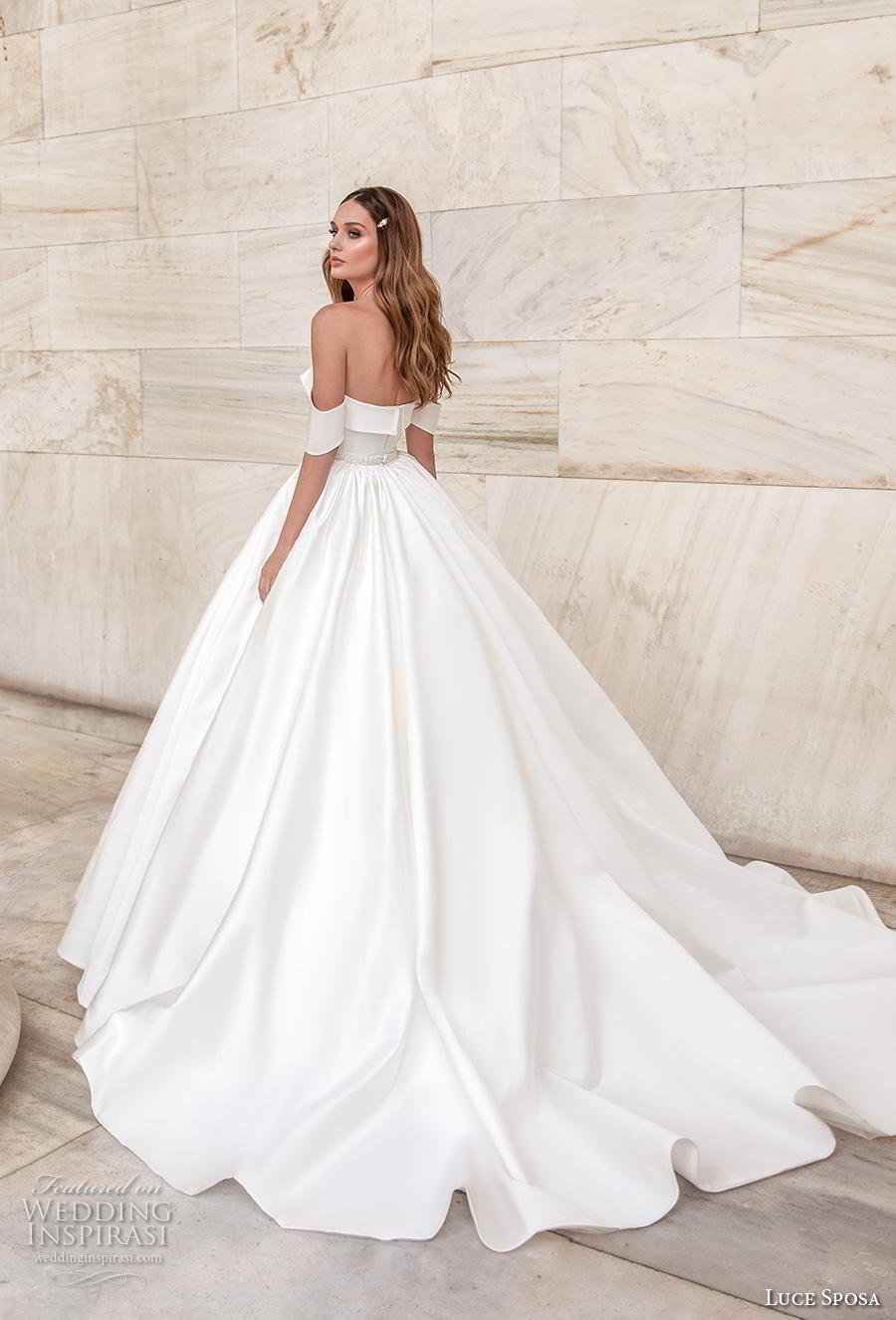 luce sposa 2020 bridal off the shoulder sweetheart neckline simple minimalist princess ball gown a  line wedding dress pockets mid back chapel train (7) bv