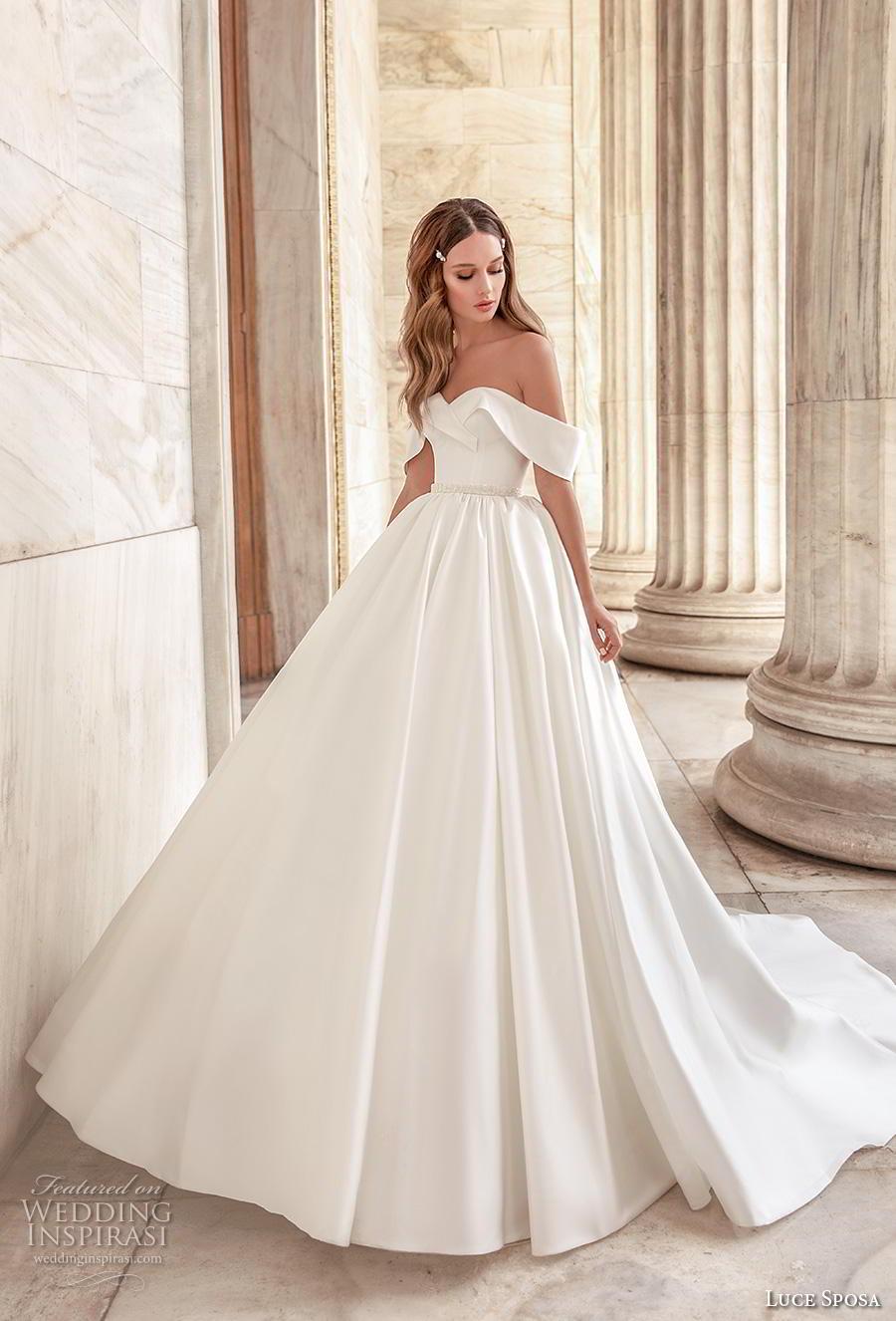 luce sposa 2020 bridal off the shoulder sweetheart neckline simple minimalist princess ball gown a  line wedding dress pockets mid back chapel train (7) mv