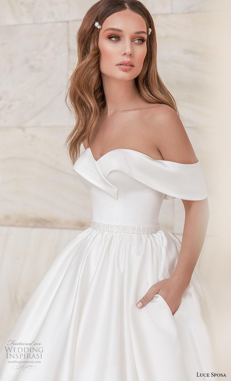 luce sposa 2020 bridal off the shoulder sweetheart neckline simple minimalist princess ball gown a  line wedding dress pockets mid back chapel train (7) zv