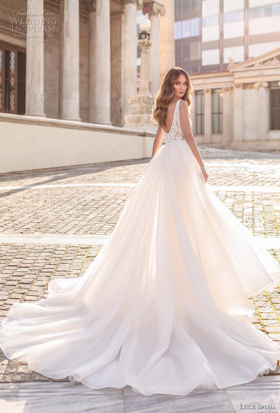 luce sposa 2020 bridal sleeveless strap v neck full embellishment elegant fit and flare sheath wedding dress a  line overskirt v back royal train (10) bv