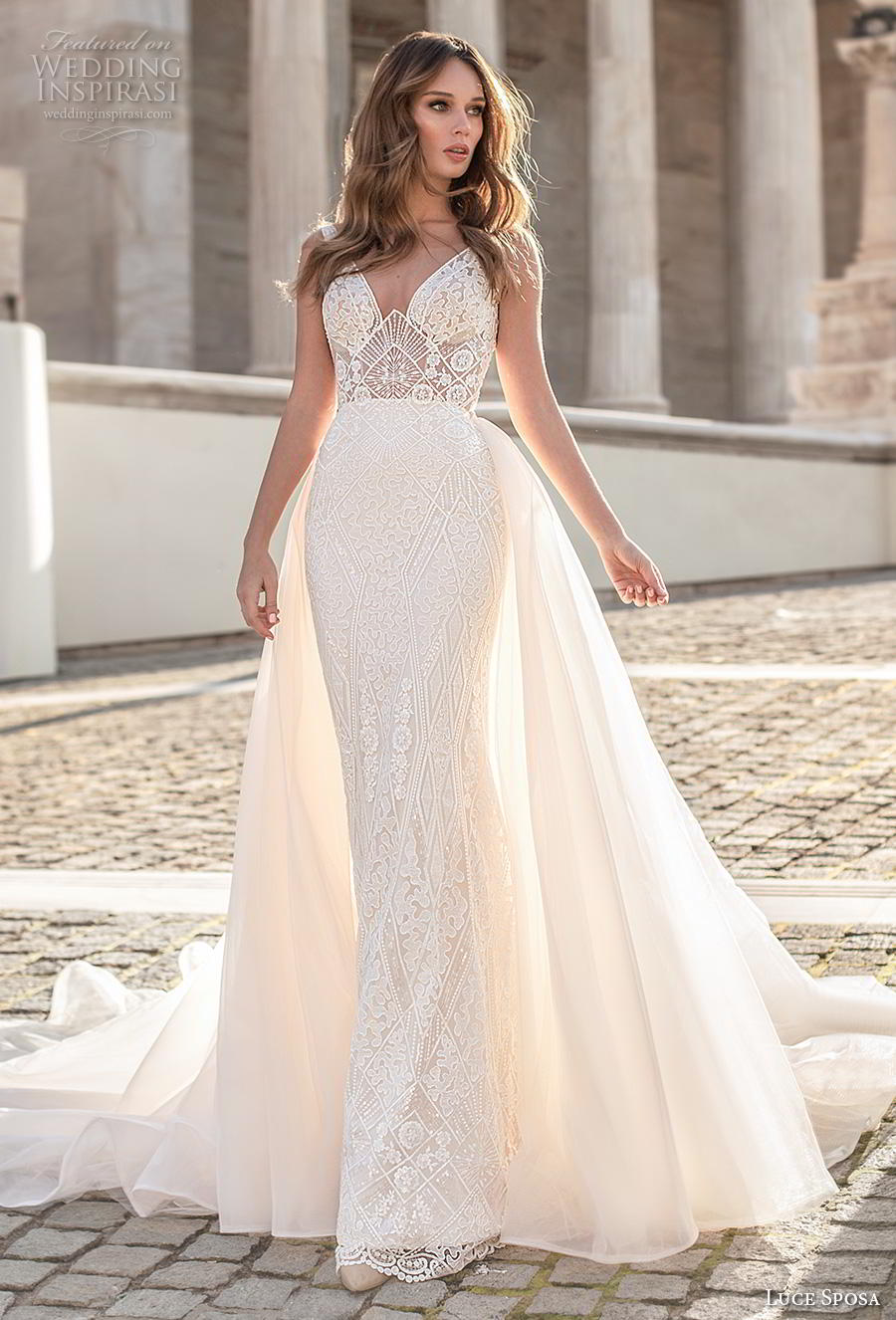 luce sposa 2020 bridal sleeveless strap v neck full embellishment elegant fit and flare sheath wedding dress a  line overskirt v back royal train (10) mv