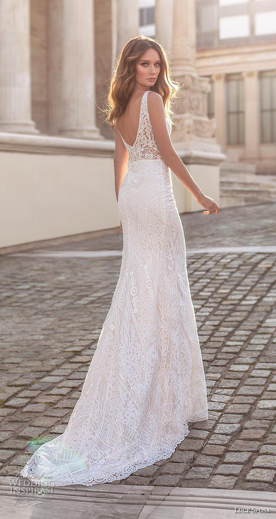 luce sposa 2020 bridal sleeveless strap v neck full embellishment elegant fit and flare sheath wedding dress v back short train (10) bv