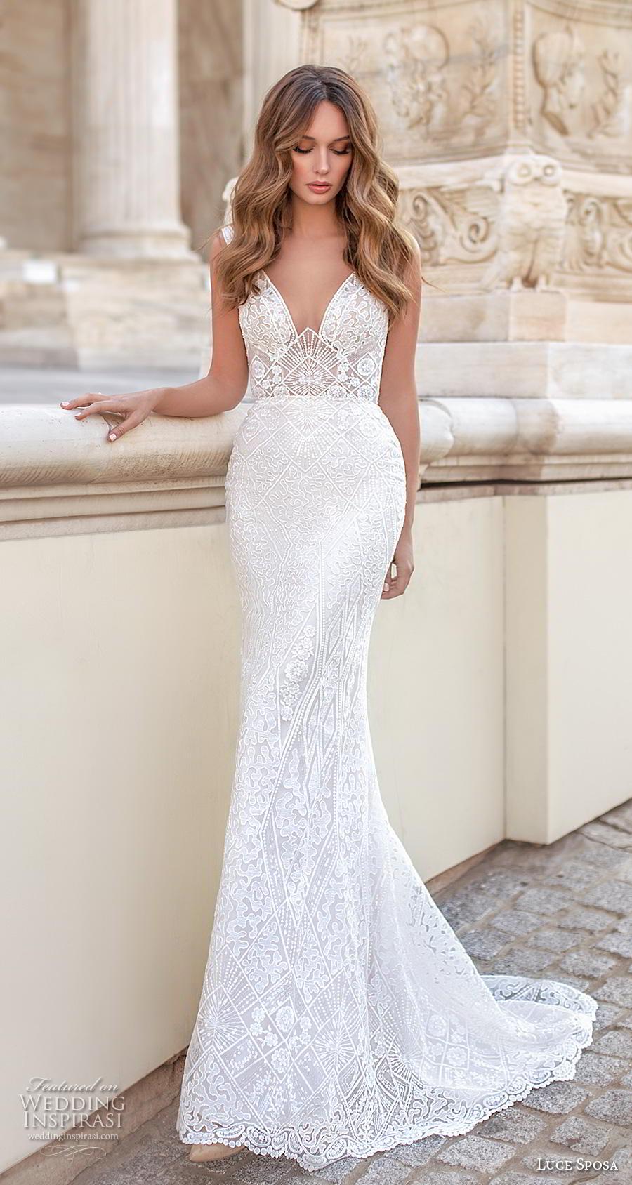 luce sposa 2020 bridal sleeveless strap v neck full embellishment elegant fit and flare sheath wedding dress v back short train (10) mv
