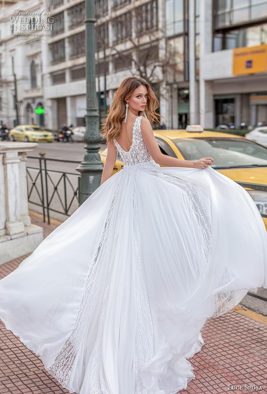 luce sposa 2020 bridal sleeveless with strap deep sweetheart neckline heavily embellished bodice romantic soft a  line wedding dress v back chapel train (6) bv