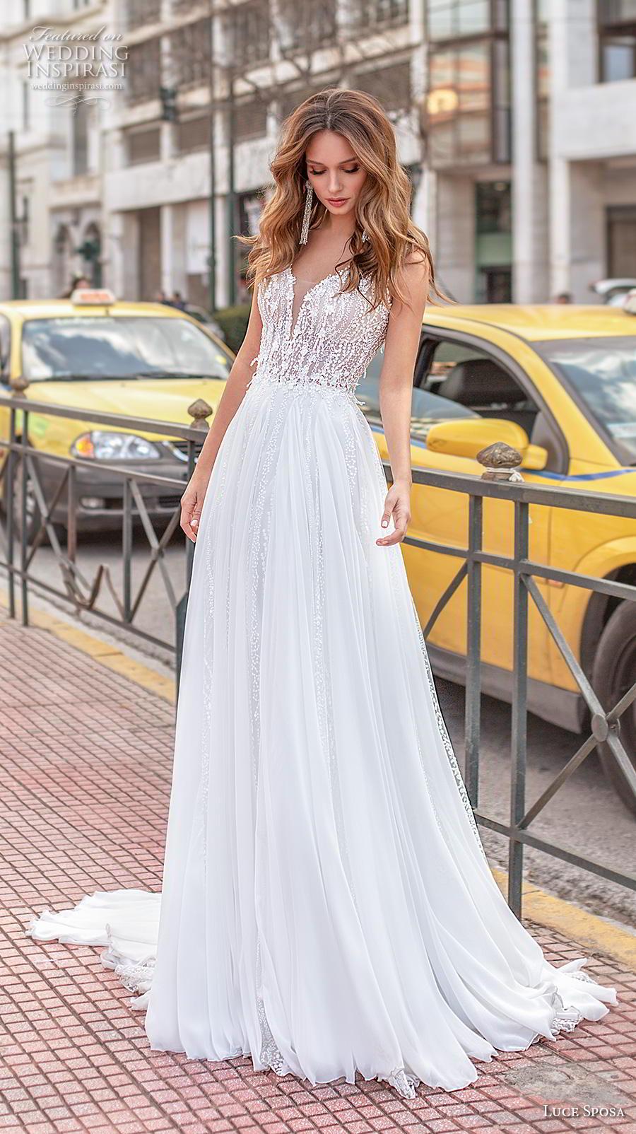 luce sposa 2020 bridal sleeveless with strap deep sweetheart neckline heavily embellished bodice romantic soft a  line wedding dress v back chapel train (6) mv