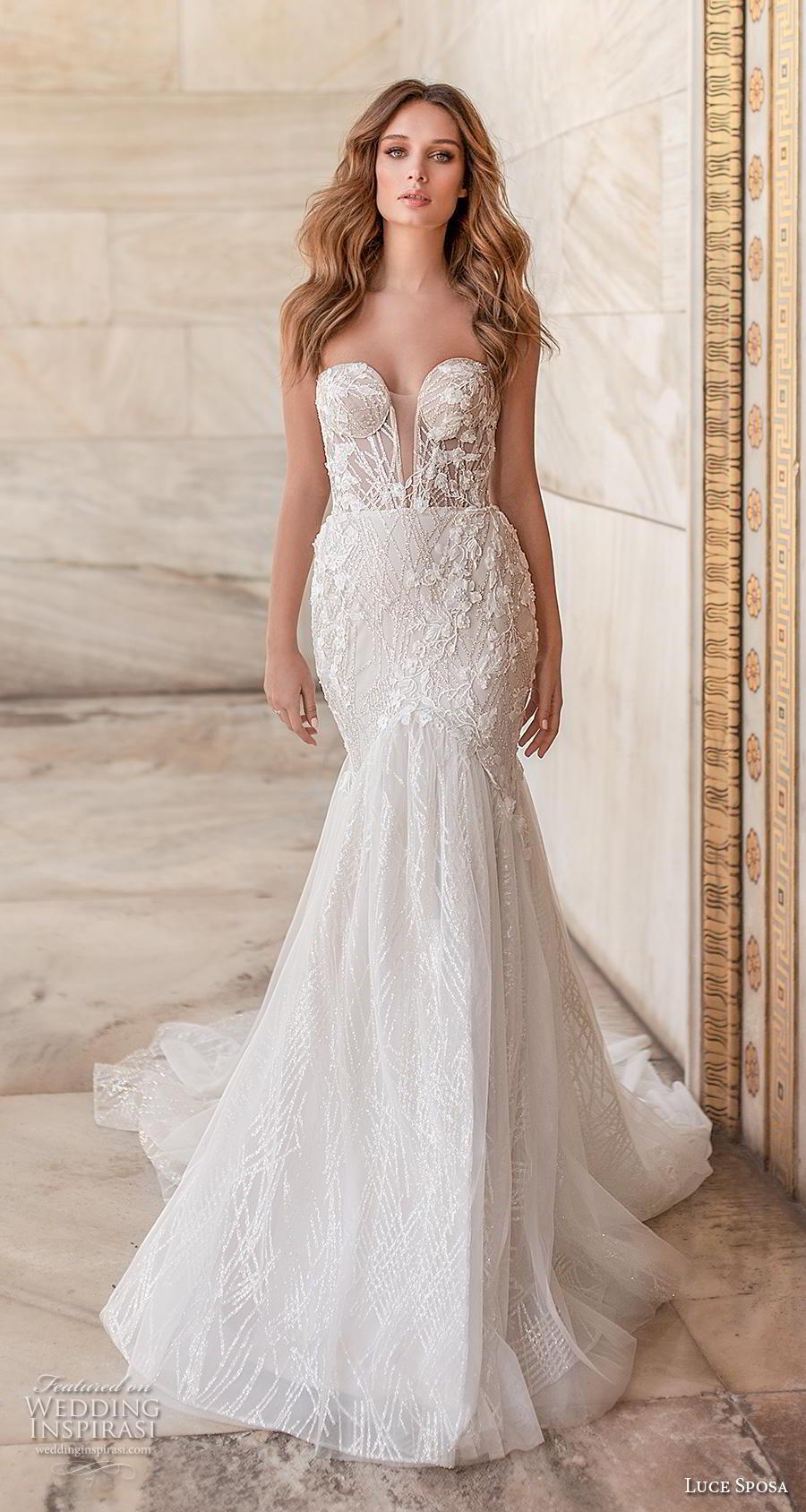 luce sposa 2020 bridal strapless sweetheart neckline heavily embellished bodice elegant sexy mermaid wedding dress mid back chapel train (8) mv