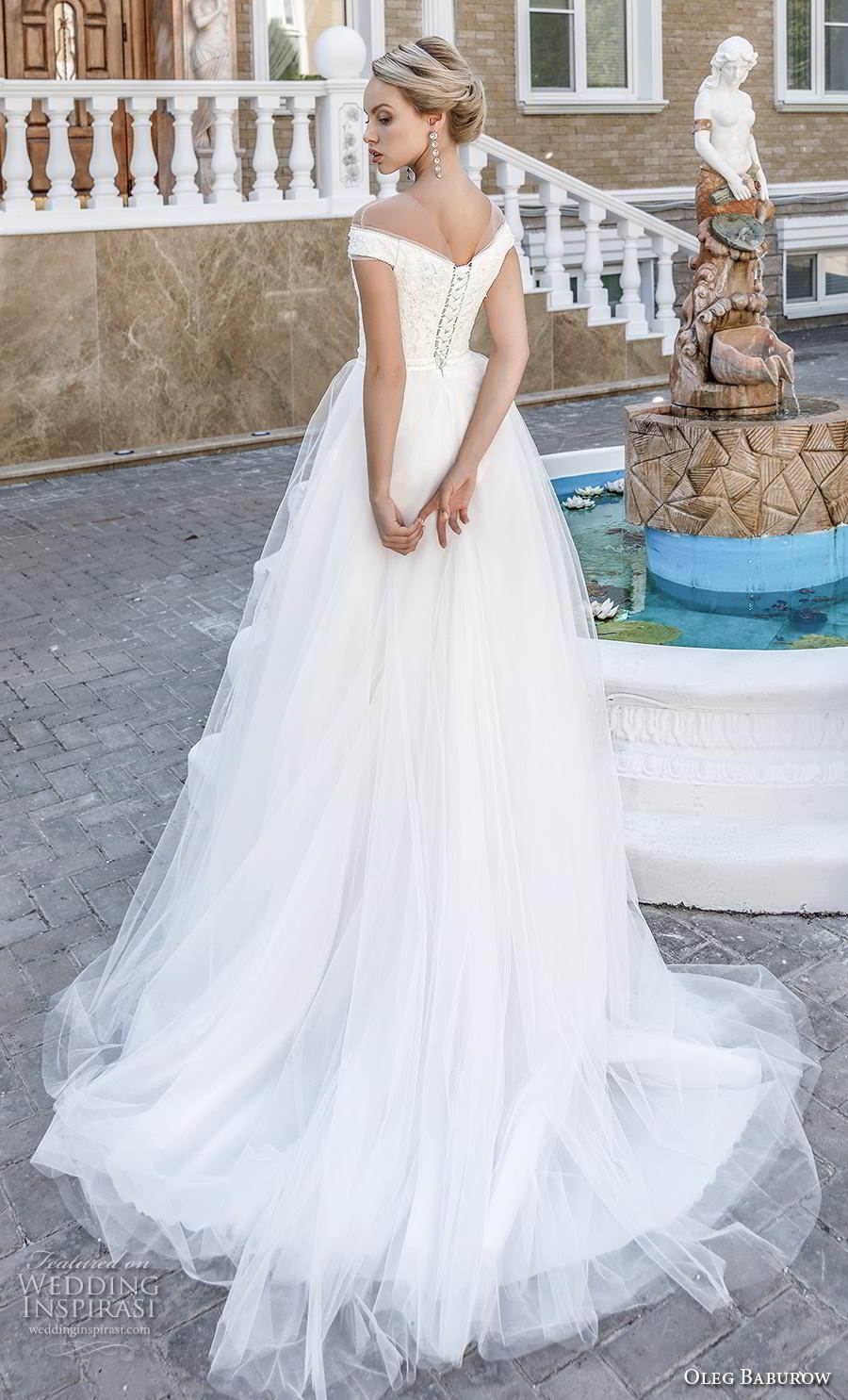oleg baburow 2020 bridal cap sleeves illusion jewel v neck heavily embellished bodice romantic a  line wedding dress chapel train (18) bv